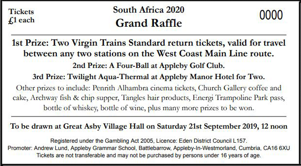 South Africa 2020 Raffle Ticket